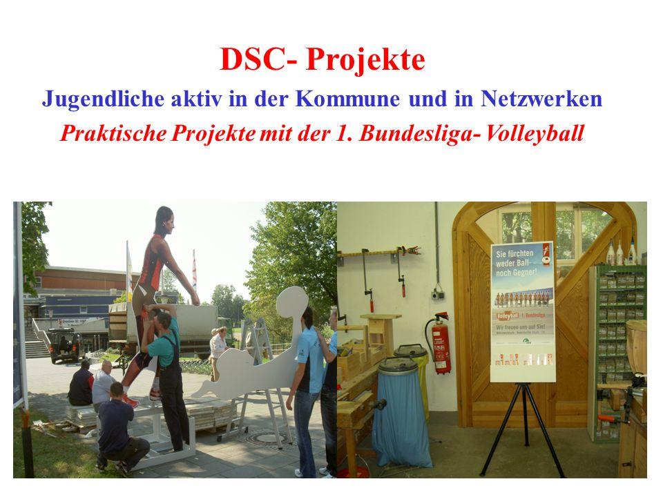 DSC- Projekte Jugendliche aktiv in der Kommune und in Netzwerken Praktische Projekte mit der 1. Bundesliga- Volleyball