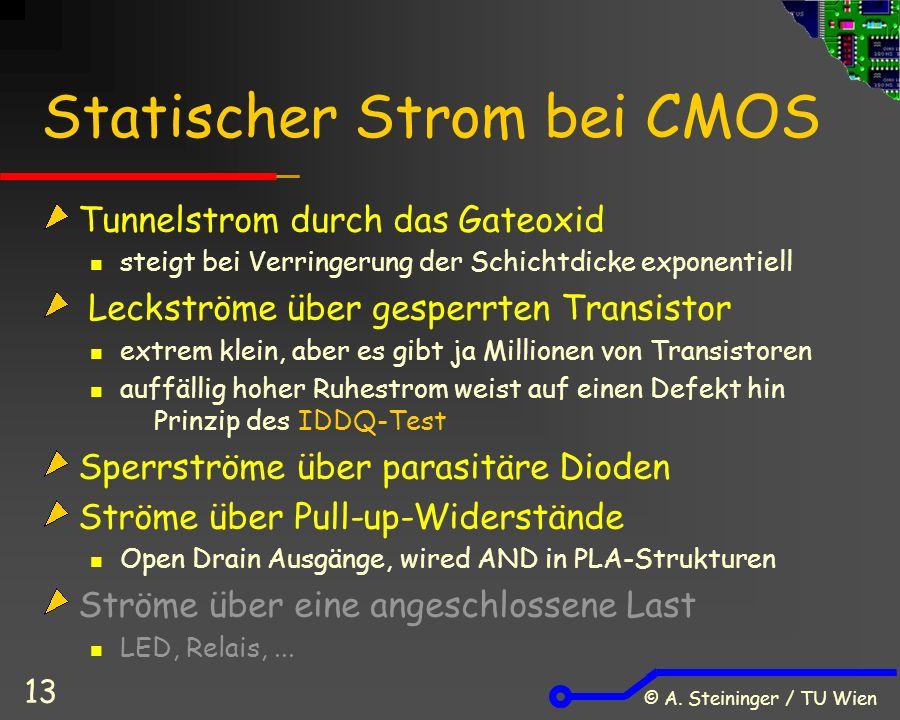 © A. Steininger / TU Wien 13 Statischer Strom bei CMOS Tunnelstrom durch das Gateoxid steigt bei Verringerung der Schichtdicke exponentiell Leckströme