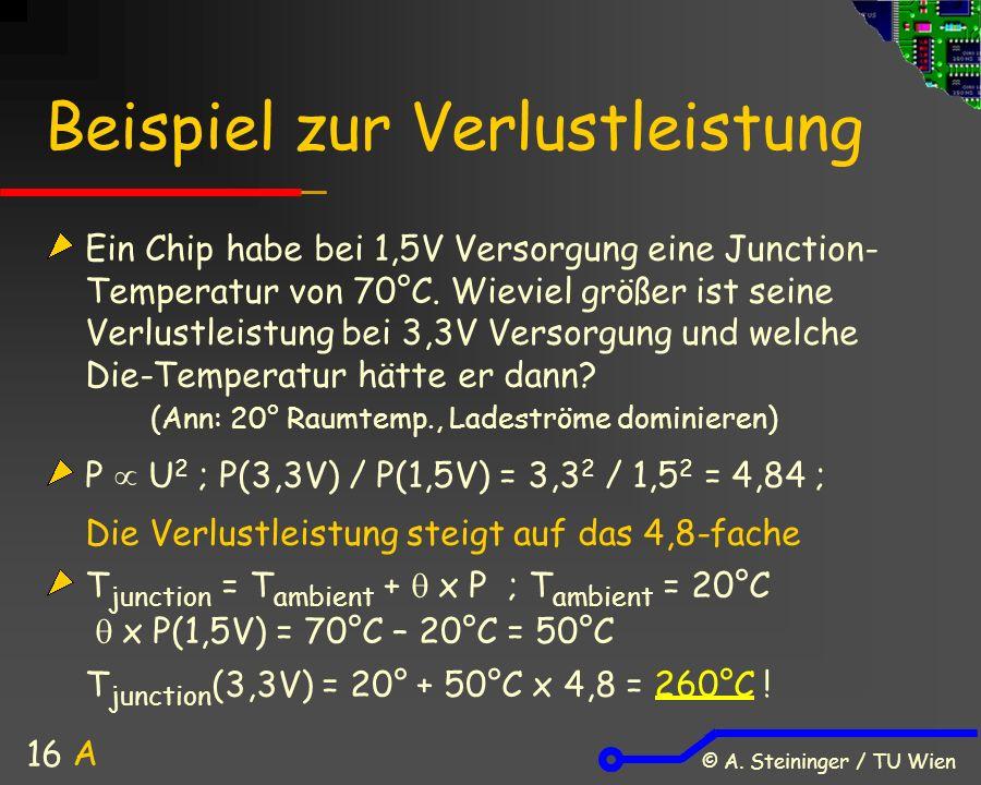 © A. Steininger / TU Wien 16 Beispiel zur Verlustleistung Ein Chip habe bei 1,5V Versorgung eine Junction- Temperatur von 70°C. Wieviel größer ist sei