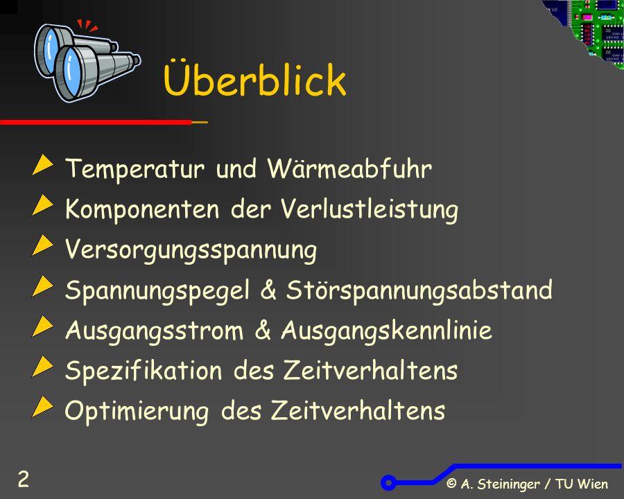 © A. Steininger / TU Wien 2 Temperatur und Wärmeabfuhr Komponenten der Verlustleistung Versorgungsspannung Spannungspegel & Störspannungsabstand Ausga