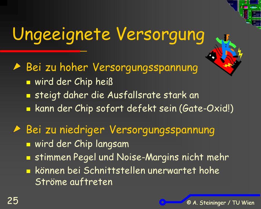 © A. Steininger / TU Wien 25 Ungeeignete Versorgung Bei zu hoher Versorgungsspannung wird der Chip heiß steigt daher die Ausfallsrate stark an kann de