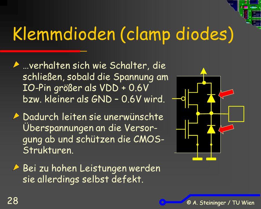 © A. Steininger / TU Wien 28 Klemmdioden (clamp diodes) …verhalten sich wie Schalter, die schließen, sobald die Spannung am IO-Pin größer als VDD + 0.
