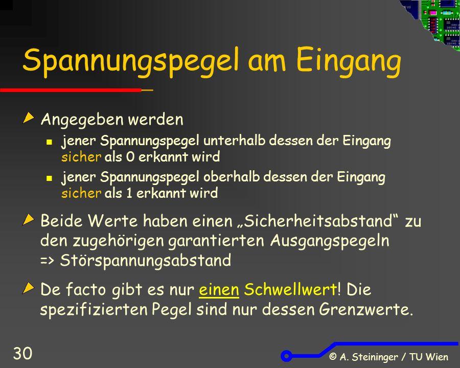 © A. Steininger / TU Wien 30 Spannungspegel am Eingang Angegeben werden jener Spannungspegel unterhalb dessen der Eingang sicher als 0 erkannt wird je