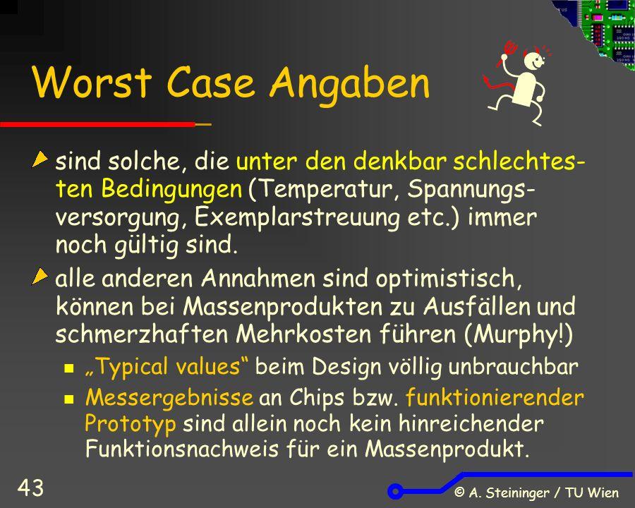 © A. Steininger / TU Wien 43 Worst Case Angaben sind solche, die unter den denkbar schlechtes- ten Bedingungen (Temperatur, Spannungs- versorgung, Exe