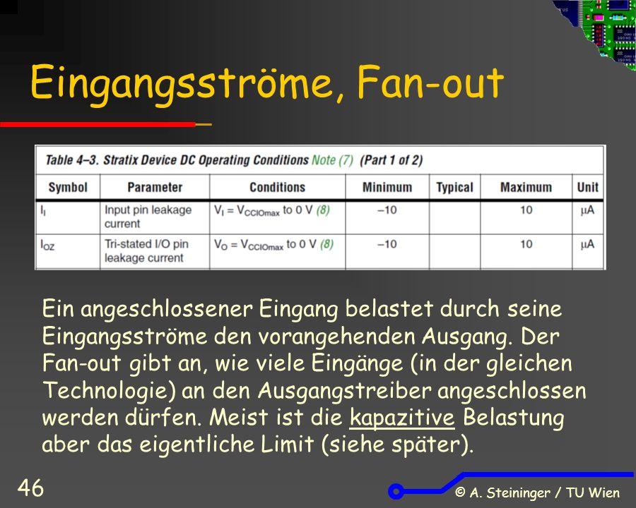© A. Steininger / TU Wien 46 Eingangsströme, Fan-out Ein angeschlossener Eingang belastet durch seine Eingangsströme den vorangehenden Ausgang. Der Fa