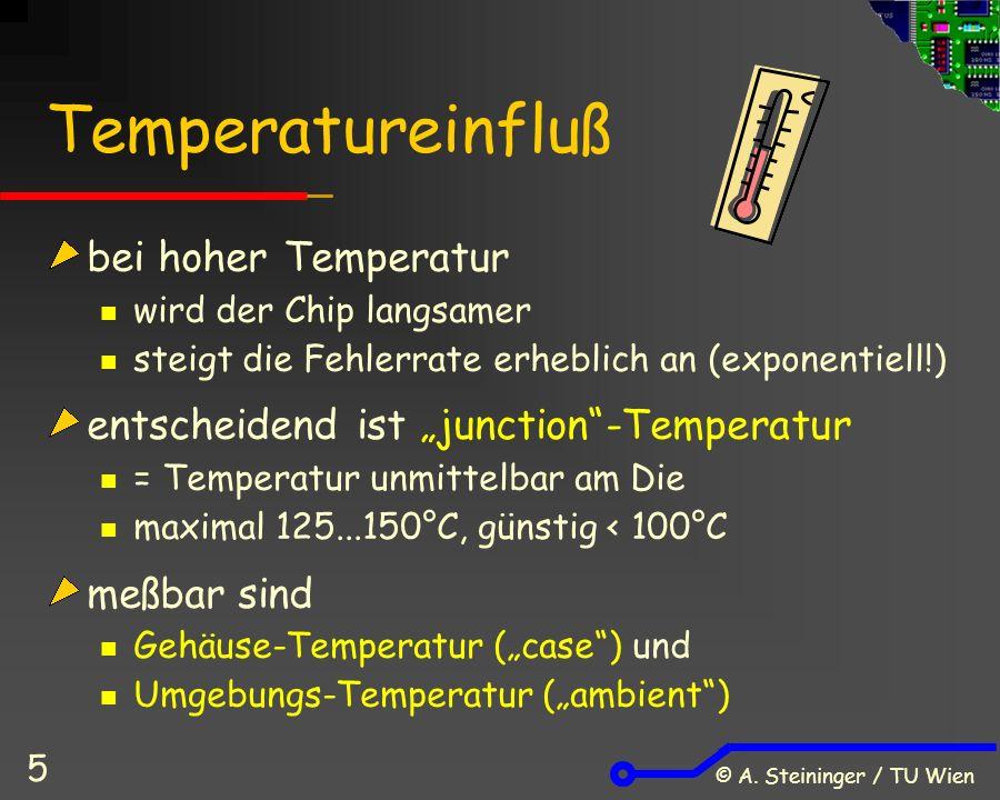 © A. Steininger / TU Wien 5 Temperatureinfluß bei hoher Temperatur wird der Chip langsamer steigt die Fehlerrate erheblich an (exponentiell!) entschei