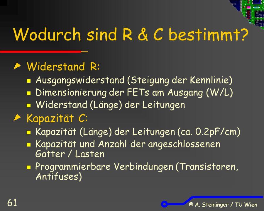 © A. Steininger / TU Wien 61 Wodurch sind R & C bestimmt.