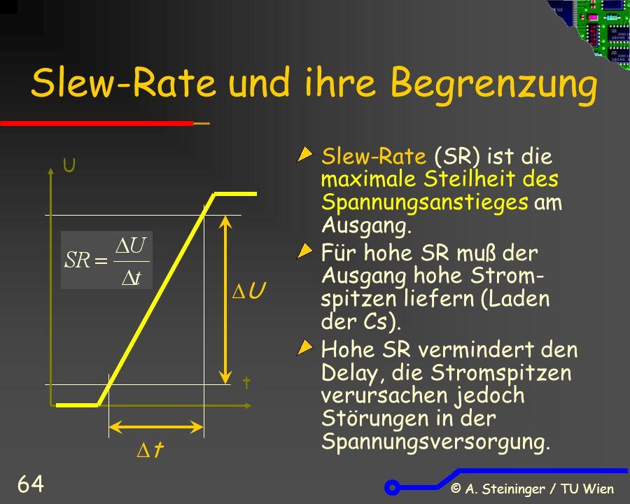 © A. Steininger / TU Wien 64 Slew-Rate und ihre Begrenzung Slew-Rate (SR) ist die maximale Steilheit des Spannungsanstieges am Ausgang. Für hohe SR mu