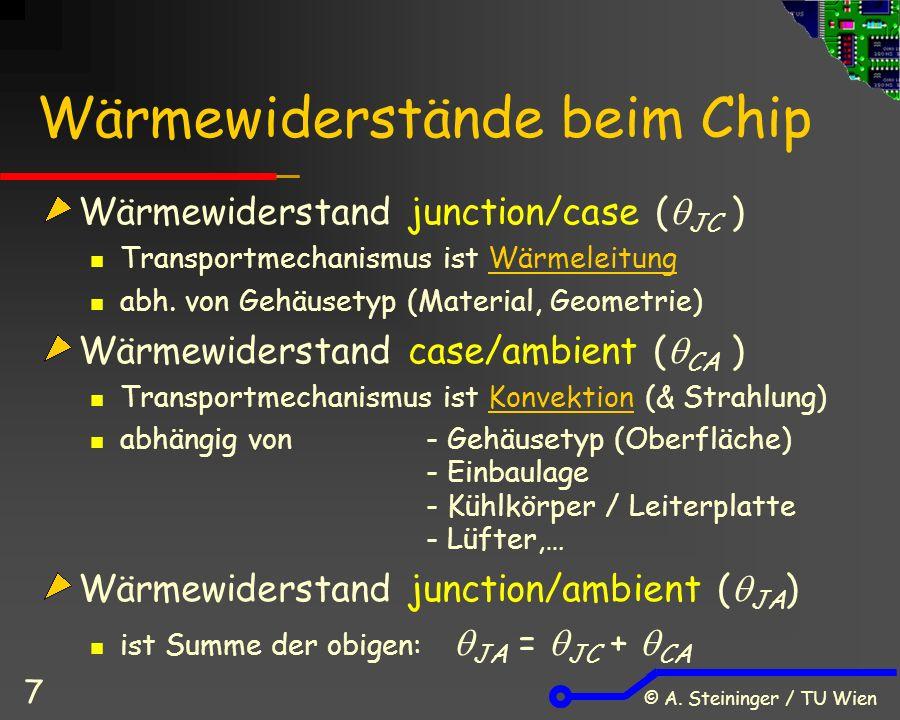 © A. Steininger / TU Wien 7 Wärmewiderstände beim Chip Wärmewiderstand junction/case (  JC ) Transportmechanismus ist Wärmeleitung abh. von Gehäusety