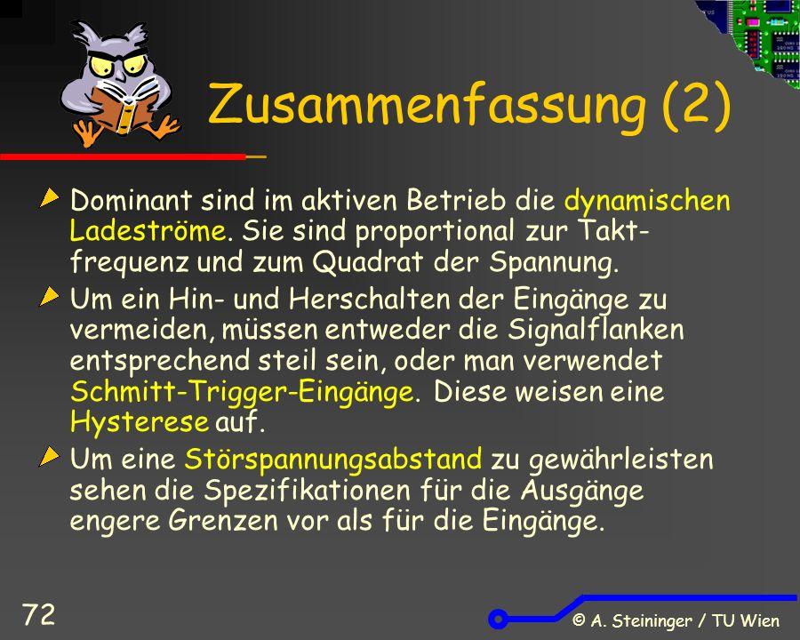 © A. Steininger / TU Wien 72 Zusammenfassung (2) Dominant sind im aktiven Betrieb die dynamischen Ladeströme. Sie sind proportional zur Takt- frequenz