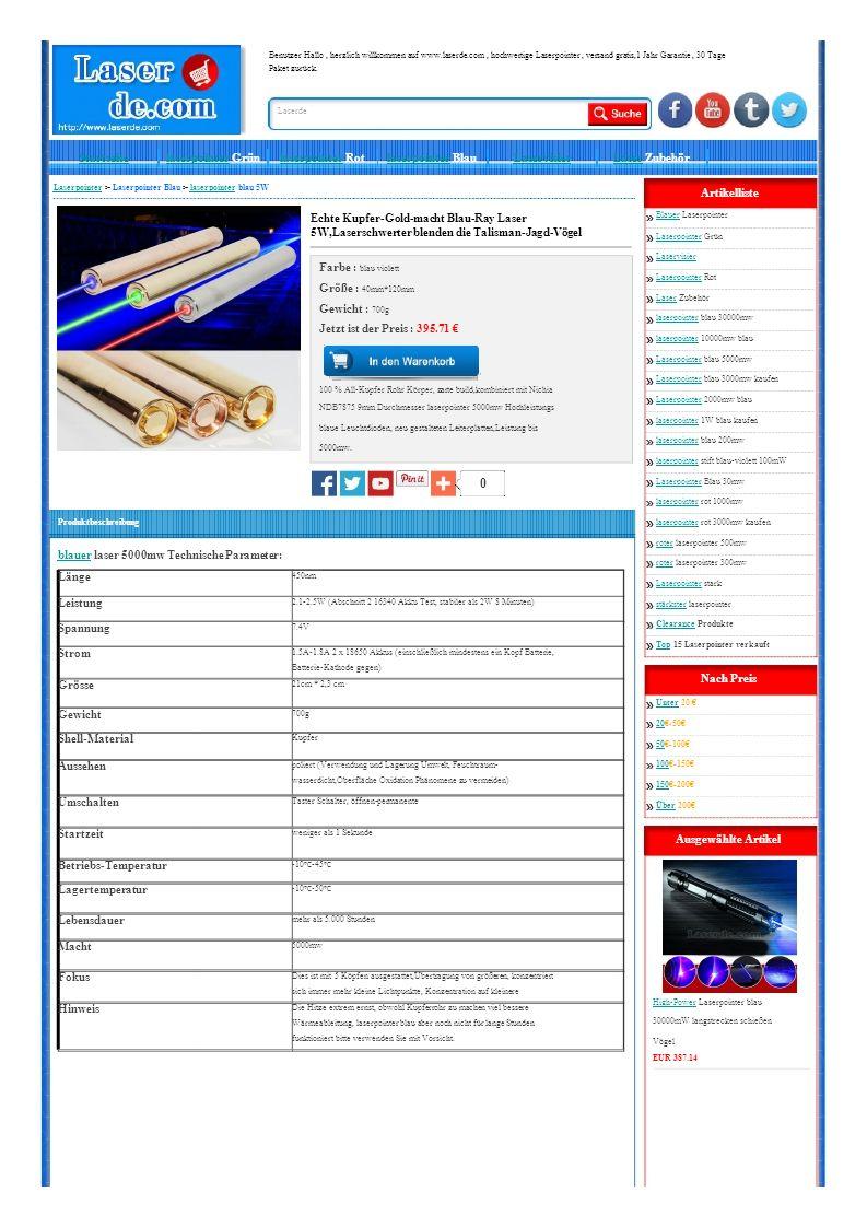 Länge 450nm Leistung 2.1-2.5W (Abschnitt 2 16340 Akku Test, stabiler als 2W 8 Minuten) Spannung 7.4V Strom 1.5A-1.8A 2 x 18650 Akkus (einschließlich mindestens ein Kopf Batterie, Batterie-Kathode gegen) Grösse 21cm * 2,3 cm Gewicht 700g Shell-Material Kupfer Aussehen poliert (Verwendung und Lagerung Umwelt, Feuchtraum- wasserdicht,Oberfläche Oxidation Phänomene zu vermeiden) Umschalten Taster Schalter, öffnen-permanente Startzeit weniger als 1 Sekunde Betriebs-Temperatur -10 ℃ -45 ℃ Lagertemperatur -10 ℃ -50 ℃ Lebensdauer mehr als 5.000 Stunden Macht 5000mw Fokus Dies ist mit 5 Köpfen ausgestattet,Übertragung von größeren, konzentriert sich immer mehr kleine Lichtpunkte, Konzentration auf kleinere Hinweis Die Hitze extrem ernst, obwohl Kupferrohr zu machen viel bessere Wärmeableitung, laserpointer blau aber noch nicht für lange Stunden funktioniert bitte verwenden Sie mit Vorsicht.