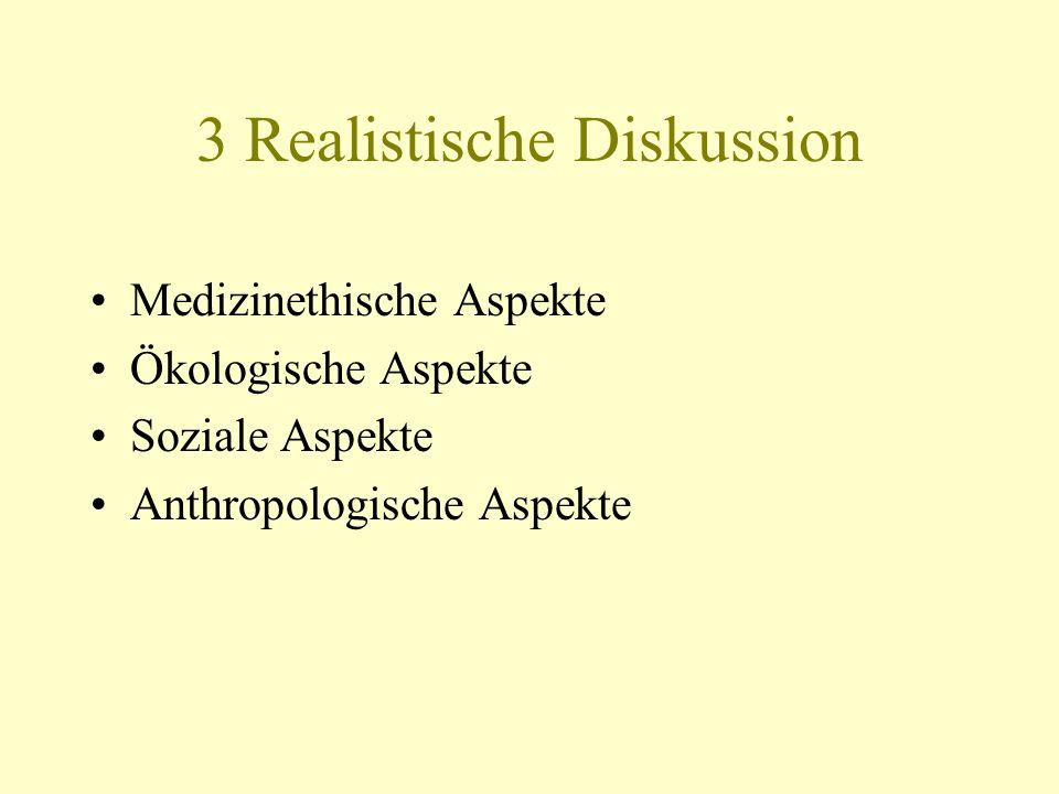 3 Realistische Diskussion Medizinethische Aspekte Ökologische Aspekte Soziale Aspekte Anthropologische Aspekte