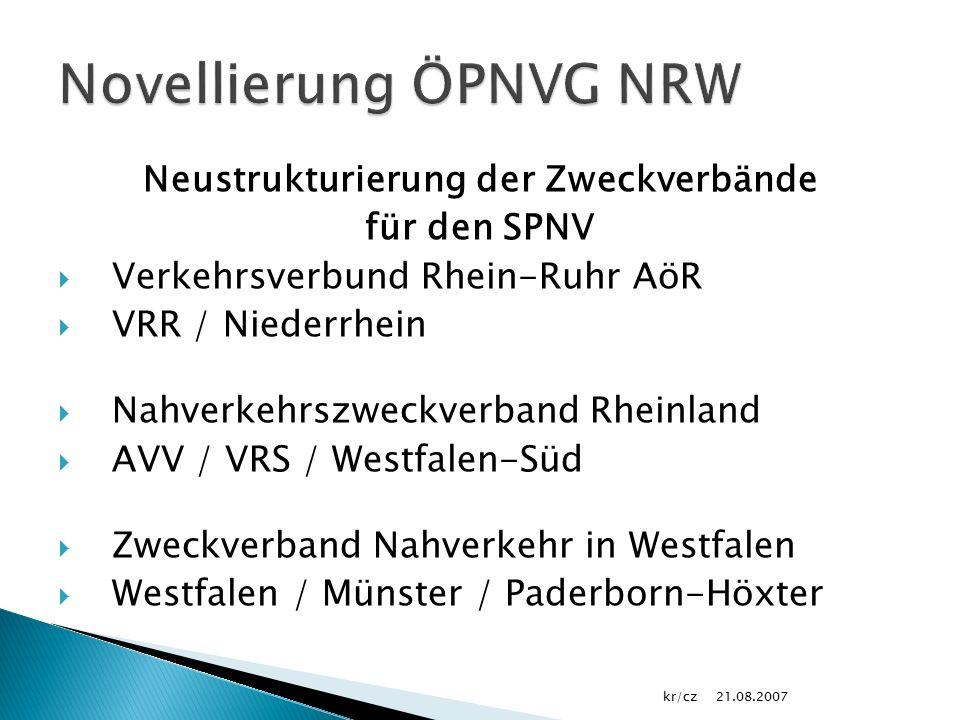 Neustrukturierung der Zweckverbände für den SPNV  Verkehrsverbund Rhein-Ruhr AöR  VRR / Niederrhein  Nahverkehrszweckverband Rheinland  AVV / VRS / Westfalen-Süd  Zweckverband Nahverkehr in Westfalen  Westfalen / Münster / Paderborn-Höxter 21.08.2007kr/cz