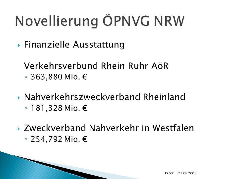  Finanzielle Ausstattung Verkehrsverbund Rhein Ruhr AöR ◦ 363,880 Mio.