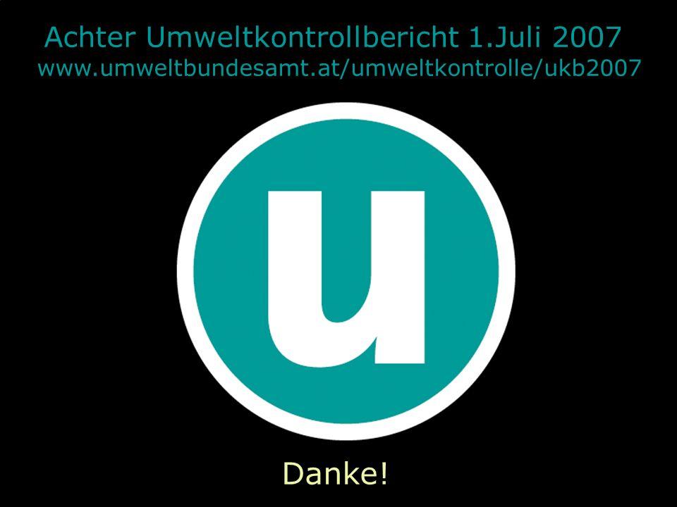 31.05.2016| Folie 11 Achter Umweltkontrollbericht 1.Juli 2007 www.umweltbundesamt.at/umweltkontrolle/ukb2007 Danke!