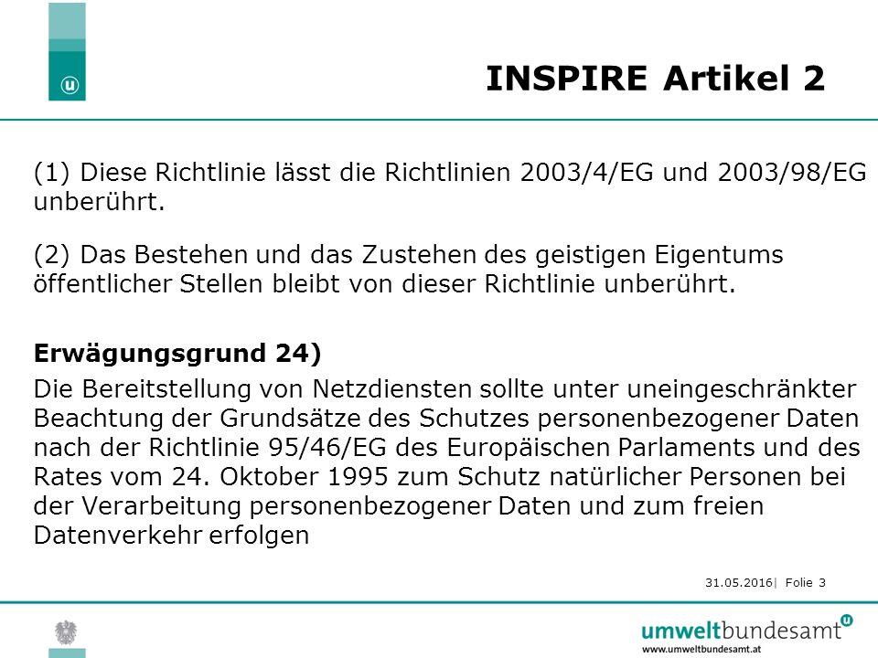 31.05.2016| Folie 3 INSPIRE Artikel 2 (1) Diese Richtlinie lässt die Richtlinien 2003/4/EG und 2003/98/EG unberührt.