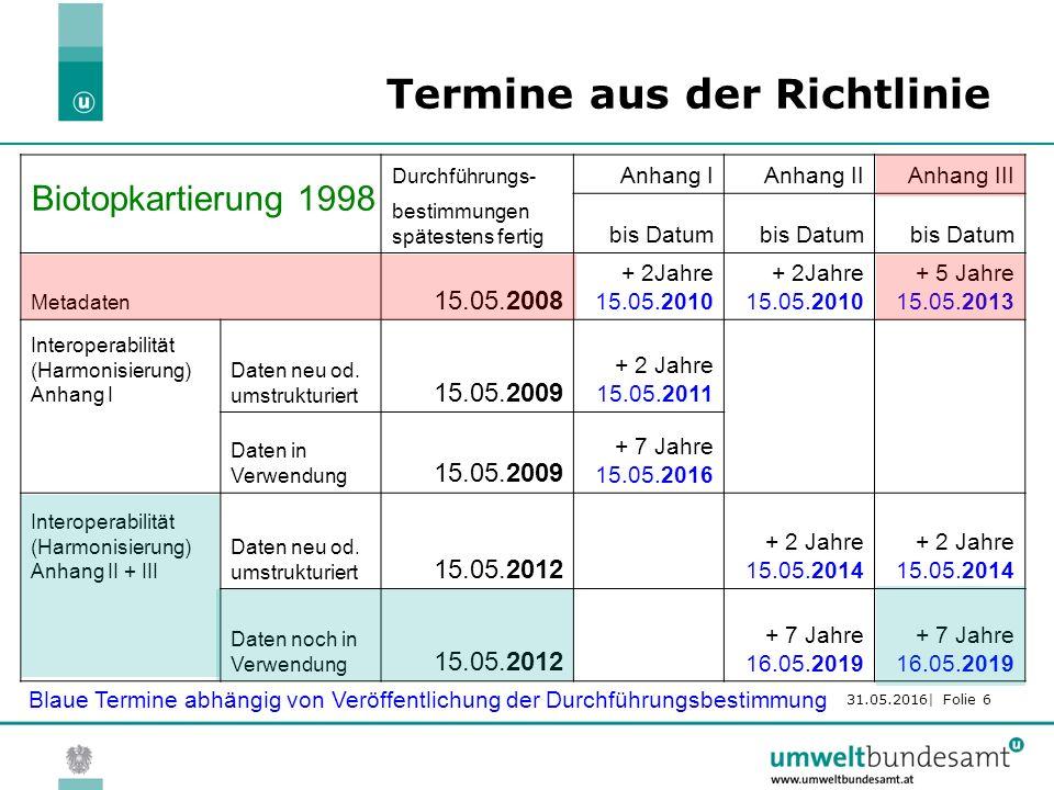31.05.2016| Folie 6 Termine aus der Richtlinie Durchführungs- Anhang IAnhang IIAnhang III bestimmungen spätestens fertig bis Datum Metadaten 15.05.2008 + 2Jahre 15.05.2010 + 5 Jahre 15.05.2013 Interoperabilität (Harmonisierung) Anhang I Daten neu od.