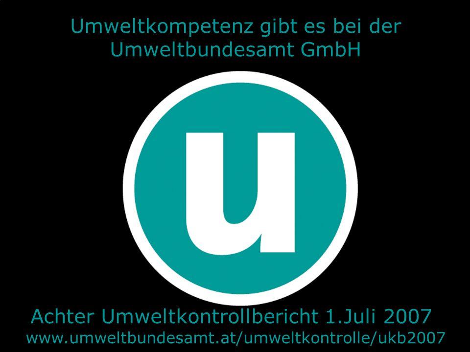 31.05.2016| Folie 13 Umweltkompetenz gibt es bei der Umweltbundesamt GmbH Achter Umweltkontrollbericht 1.Juli 2007 www.umweltbundesamt.at/umweltkontrolle/ukb2007