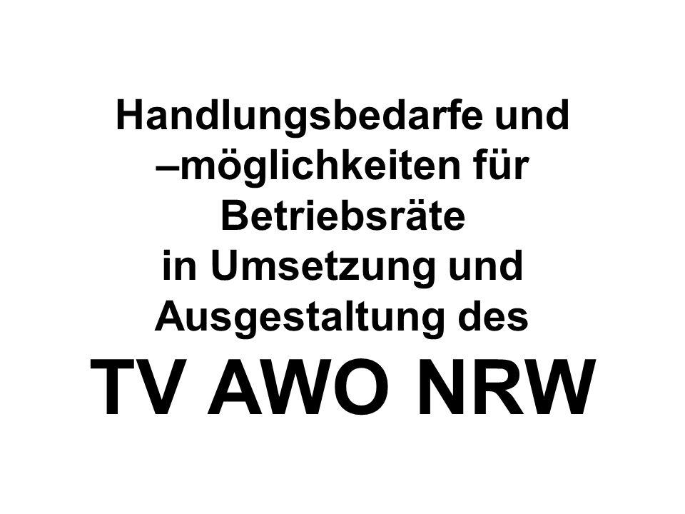 Handlungsbedarfe und –möglichkeiten für Betriebsräte in Umsetzung und Ausgestaltung des TV AWO NRW