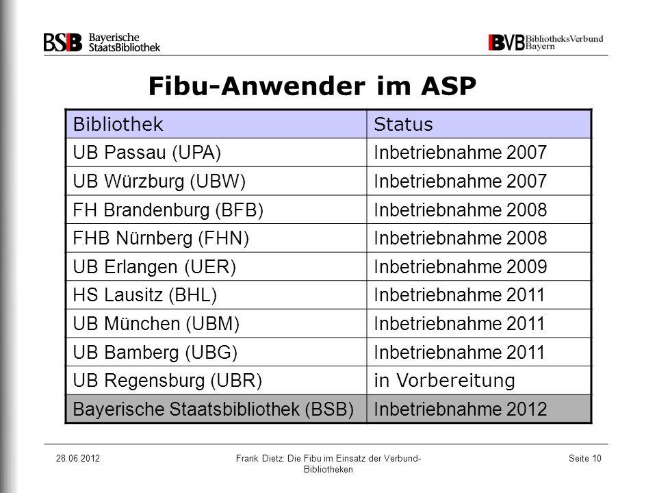 28.06.2012Frank Dietz: Die Fibu im Einsatz der Verbund- Bibliotheken Seite 10 Fibu-Anwender im ASP BibliothekStatus UB Passau (UPA)Inbetriebnahme 2007
