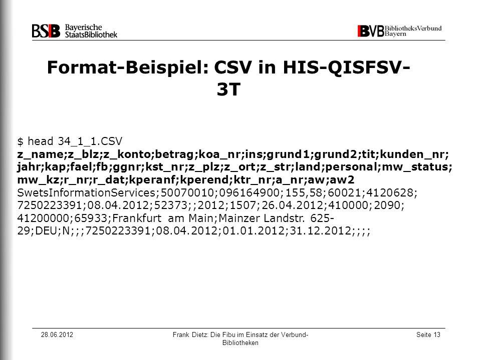 28.06.2012Frank Dietz: Die Fibu im Einsatz der Verbund- Bibliotheken Seite 13 Format-Beispiel: CSV in HIS-QISFSV- 3T $ head 34_1_1.CSV z_name;z_blz;z_