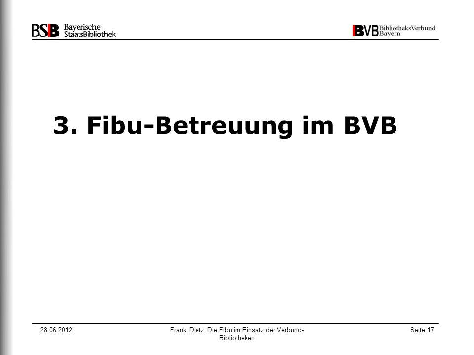 28.06.2012Frank Dietz: Die Fibu im Einsatz der Verbund- Bibliotheken Seite 17 3. Fibu-Betreuung im BVB