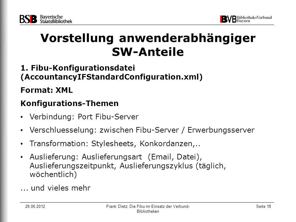28.06.2012Frank Dietz: Die Fibu im Einsatz der Verbund- Bibliotheken Seite 18 Vorstellung anwenderabhängiger SW-Anteile 1.