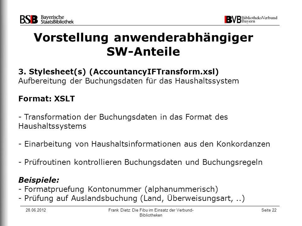 28.06.2012Frank Dietz: Die Fibu im Einsatz der Verbund- Bibliotheken Seite 22 Vorstellung anwenderabhängiger SW-Anteile 3.