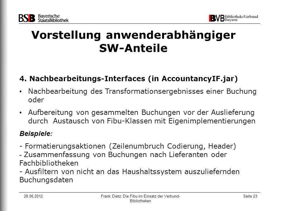 28.06.2012Frank Dietz: Die Fibu im Einsatz der Verbund- Bibliotheken Seite 23 Vorstellung anwenderabhängiger SW-Anteile 4. Nachbearbeitungs-Interfaces