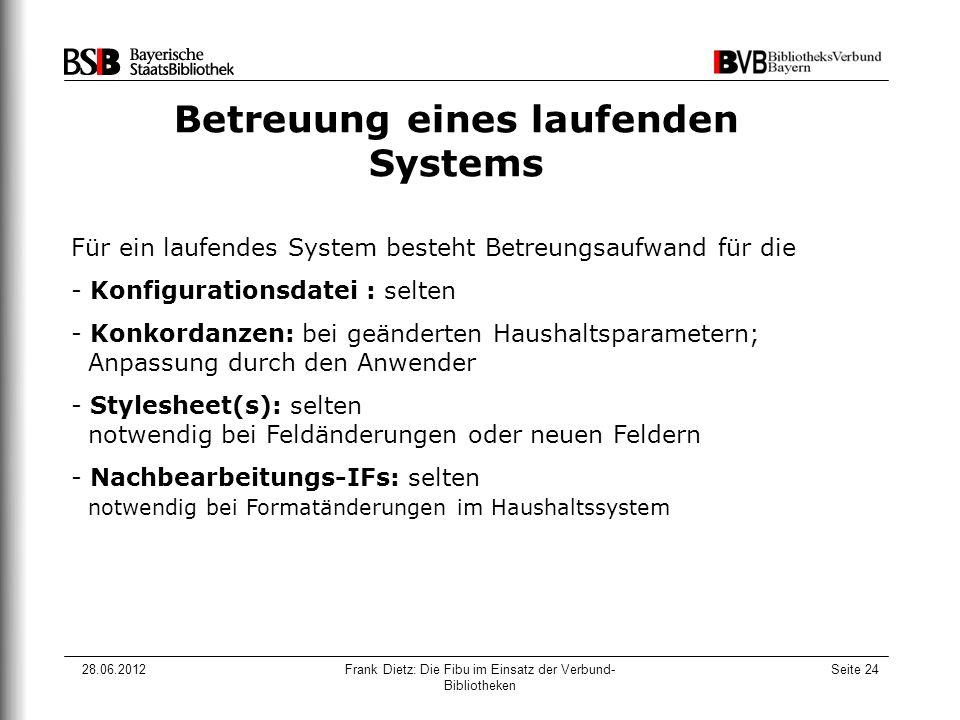 28.06.2012Frank Dietz: Die Fibu im Einsatz der Verbund- Bibliotheken Seite 24 Betreuung eines laufenden Systems Für ein laufendes System besteht Betre