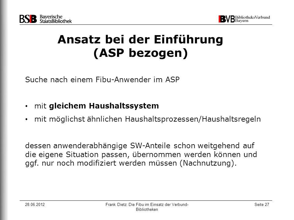 28.06.2012Frank Dietz: Die Fibu im Einsatz der Verbund- Bibliotheken Seite 27 Ansatz bei der Einführung (ASP bezogen) Suche nach einem Fibu-Anwender i