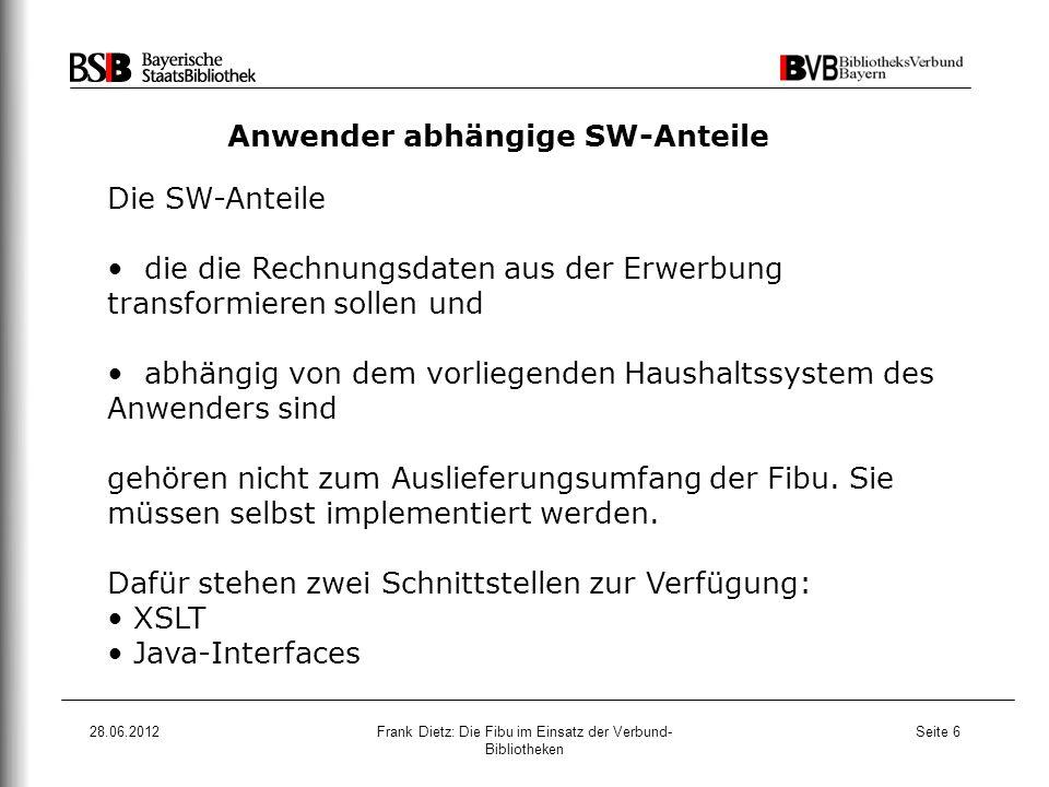 28.06.2012Frank Dietz: Die Fibu im Einsatz der Verbund- Bibliotheken Seite 17 3.