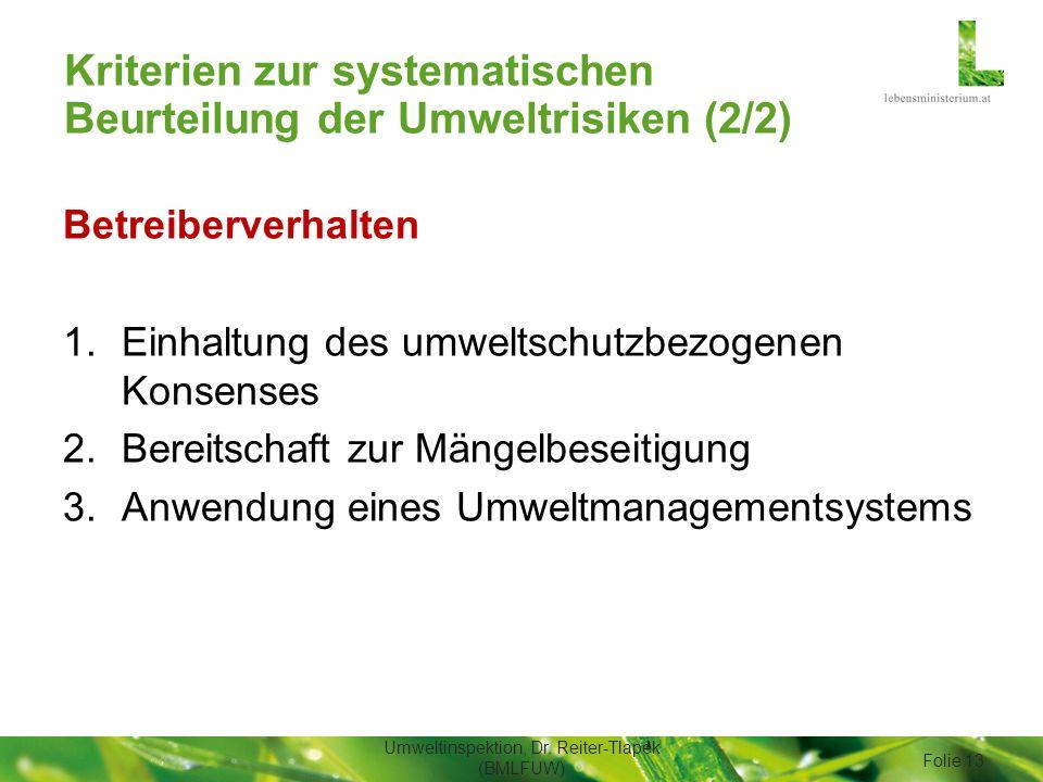 Kriterien zur systematischen Beurteilung der Umweltrisiken (2/2) Betreiberverhalten 1.Einhaltung des umweltschutzbezogenen Konsenses 2.Bereitschaft zu