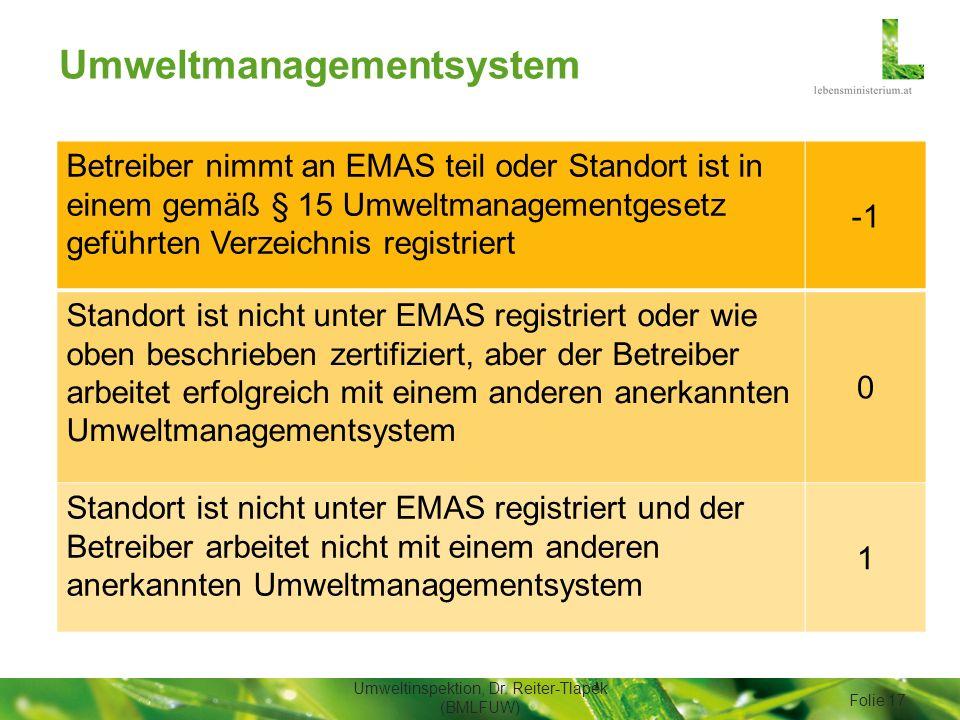 Umweltmanagementsystem Umweltinspektion, Dr. Reiter-Tlapek (BMLFUW) Folie 17 Betreiber nimmt an EMAS teil oder Standort ist in einem gemäß § 15 Umwelt