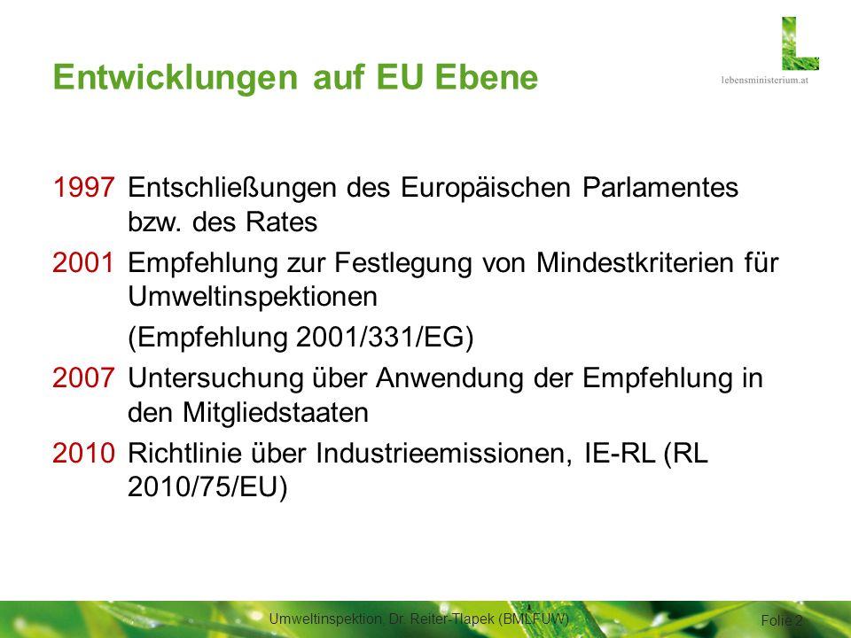 Kriterien zur systematischen Beurteilung der Umweltrisiken (2/2) Betreiberverhalten 1.Einhaltung des umweltschutzbezogenen Konsenses 2.Bereitschaft zur Mängelbeseitigung 3.Anwendung eines Umweltmanagementsystems Umweltinspektion, Dr.