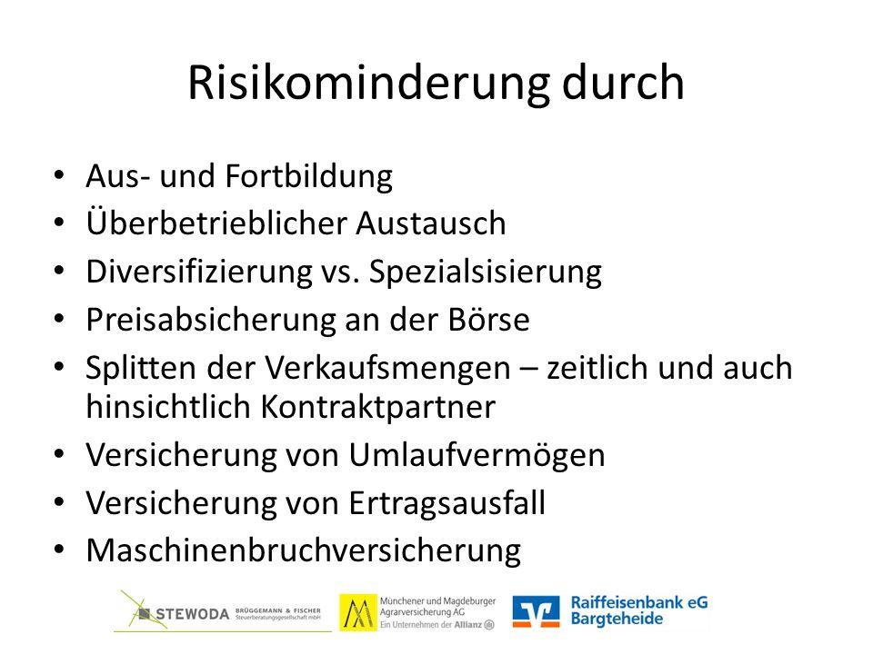 Risikominderung durch Aus- und Fortbildung Überbetrieblicher Austausch Diversifizierung vs.