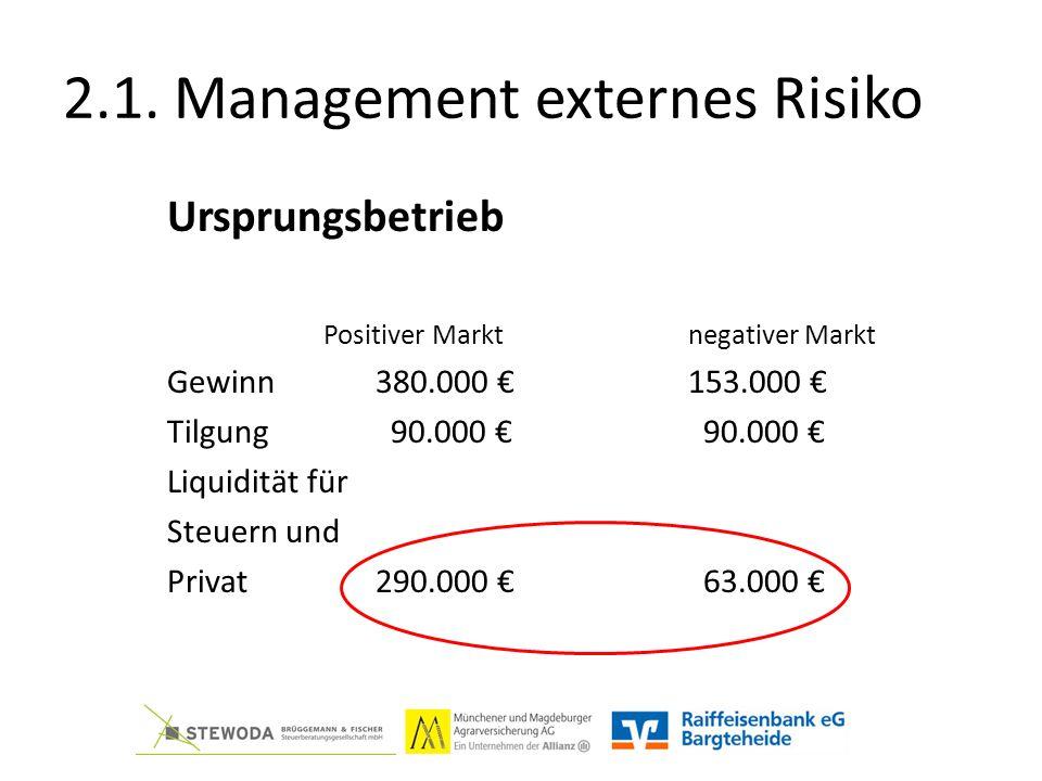 2.1. Management externes Risiko Ursprungsbetrieb Positiver Marktnegativer Markt Gewinn380.000 €153.000 € Tilgung 90.000 € 90.000 € Liquidität für Steu