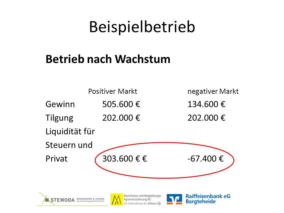 Beispielbetrieb Betrieb nach Wachstum Positiver Marktnegativer Markt Gewinn505.600 €134.600 € Tilgung202.000 €202.000 € Liquidität für Steuern und Privat303.600 € €-67.400 €