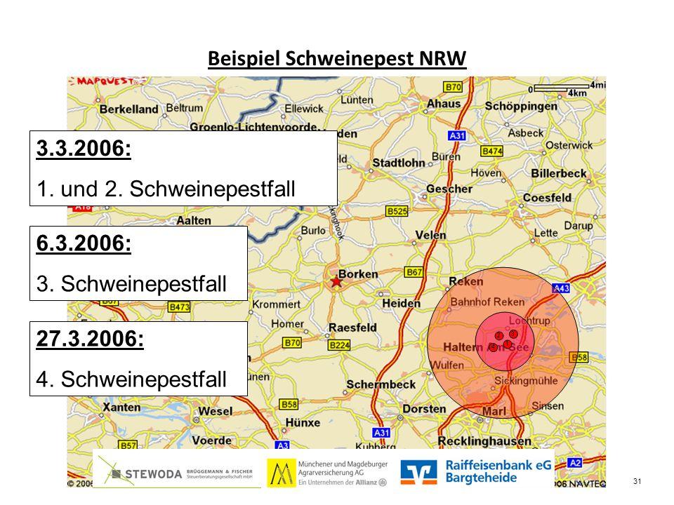 Beispiel Schweinepest NRW 3.3.2006: 1. und 2. Schweinepestfall 6.3.2006: 3.