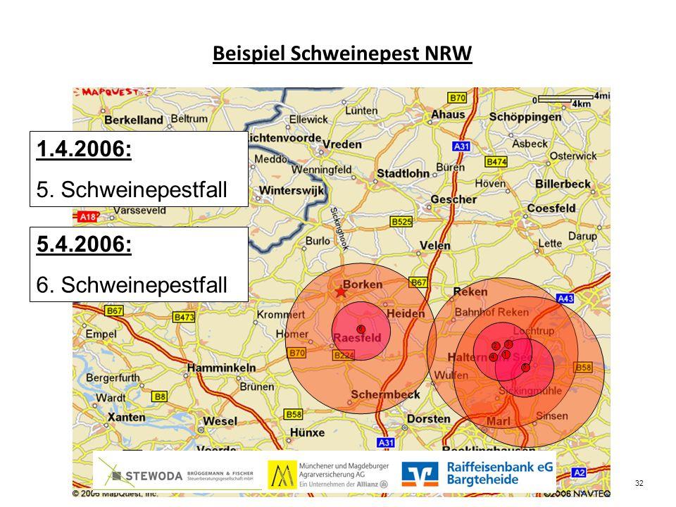 Beispiel Schweinepest NRW 1.4.2006: 5. Schweinepestfall 5.4.2006: 6. Schweinepestfall 32