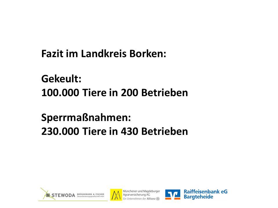 Fazit im Landkreis Borken: Gekeult: 100.000 Tiere in 200 Betrieben Sperrmaßnahmen: 230.000 Tiere in 430 Betrieben