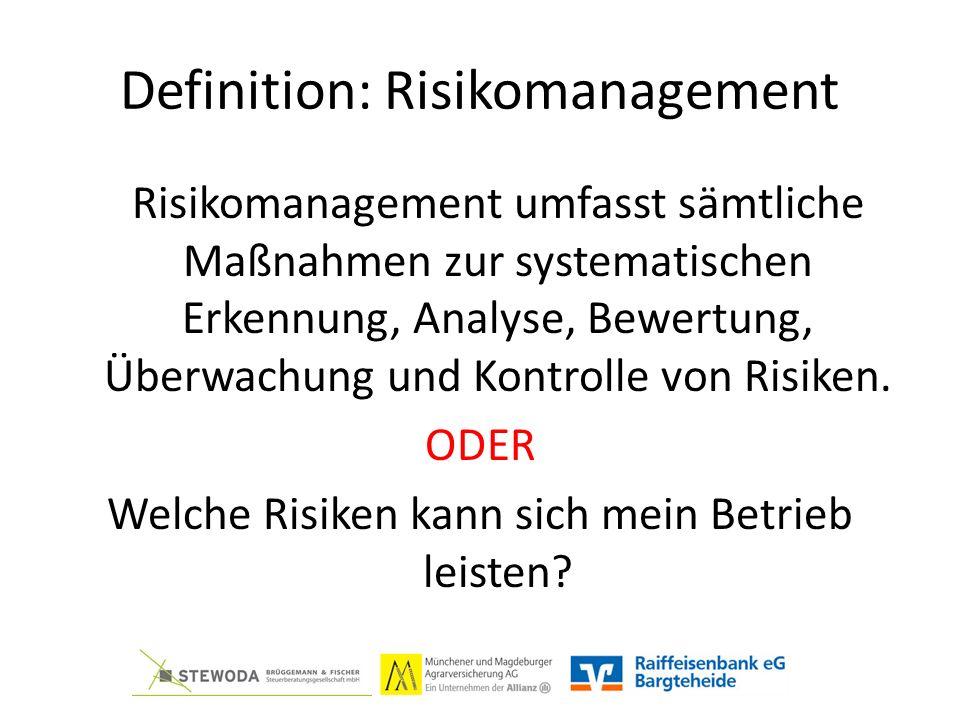 Definition: Risikomanagement Risikomanagement umfasst sämtliche Maßnahmen zur systematischen Erkennung, Analyse, Bewertung, Überwachung und Kontrolle von Risiken.