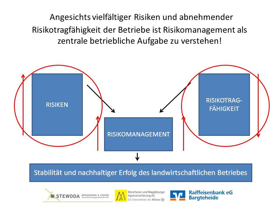 Angesichts vielfältiger Risiken und abnehmender Risikotragfähigkeit der Betriebe ist Risikomanagement als zentrale betriebliche Aufgabe zu verstehen.