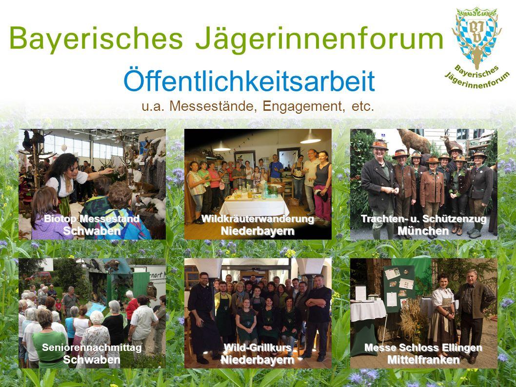 Öffentlichkeitsarbeit u.a. Messestände, Engagement, etc. Wildkräuterwanderung Niederbayern Biotop Messestand Schwaben Seniorennachmittag Schwaben Wild