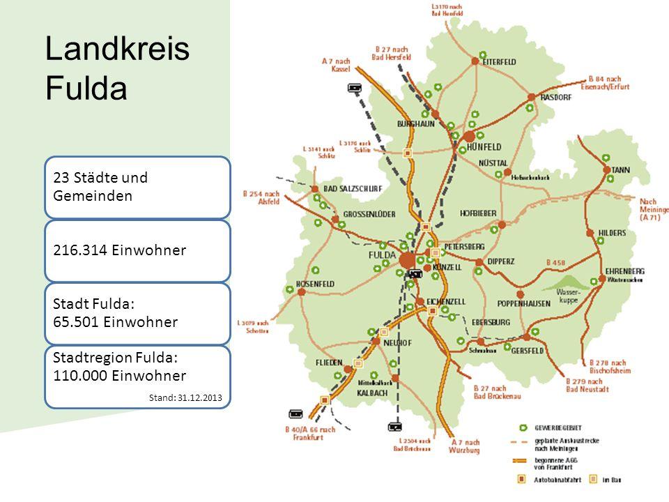 Landkreis Fulda 216.314 Einwohner 23 Städte und Gemeinden Stadt Fulda: 65.501 Einwohner Stadtregion Fulda: 110.000 Einwohner Stand: 31.12.2013