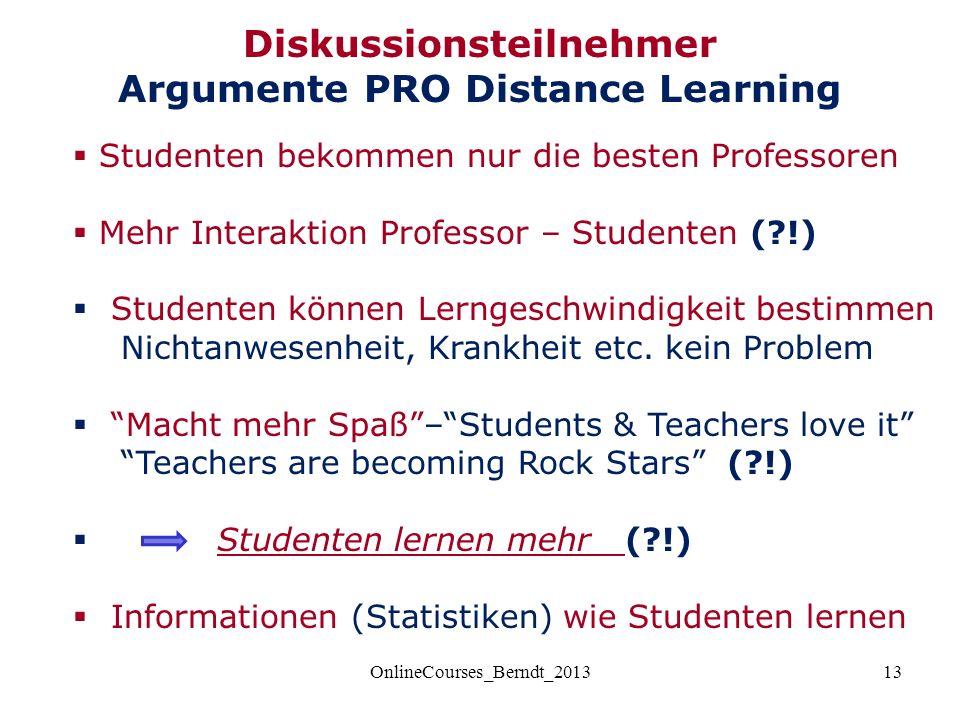13  Studenten bekommen nur die besten Professoren  Mehr Interaktion Professor – Studenten ( !)  Studenten können Lerngeschwindigkeit bestimmen Nichtanwesenheit, Krankheit etc.