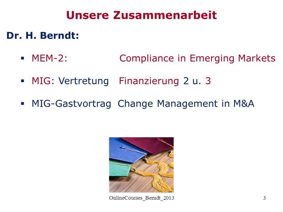 3 Dr. H. Berndt:  MEM-2: Compliance in Emerging Markets  MIG: Vertretung Finanzierung 2 u. 3  MIG-Gastvortrag Change Management in M&A Unsere Zusam
