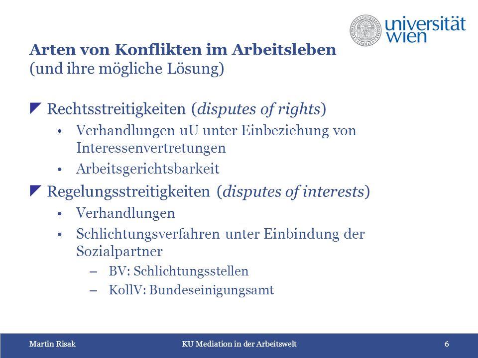 Martin RisakKU Mediation in der Arbeitswelt7 Besonderheiten der Arbeitsbeziehungen  Was unterschiedet das Arbeitsverhältnis von anderen Vertragsverhältnissen.