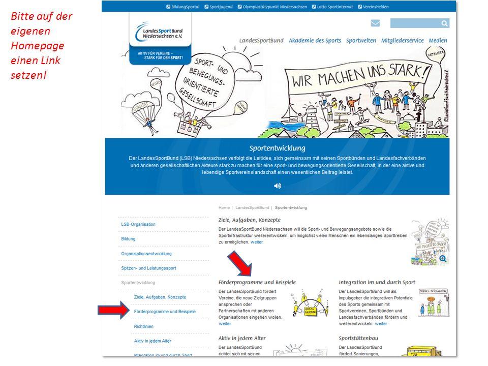 Bitte auf der eigenen Homepage einen Link setzen!