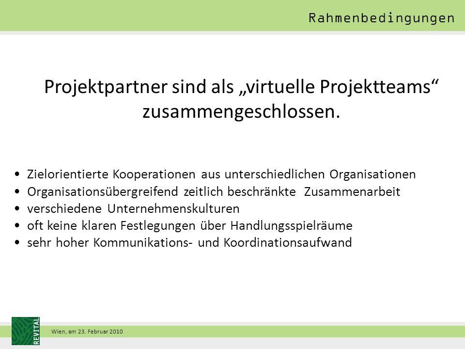 """Wien, am 23. Februar 2010 Projektpartner sind als """"virtuelle Projektteams zusammengeschlossen."""